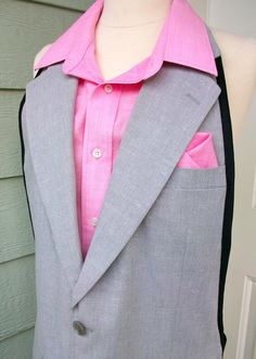 Valentine's Men's UpCycled Suit Apron  Grey and by DrapesofWrath, $50.00