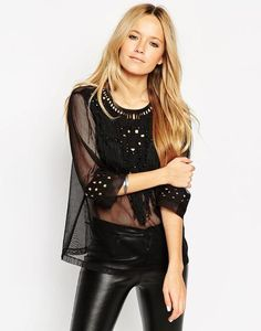 ASOS Top With Cut Work Embellishment at asos.com #top #women #covetme #fashion