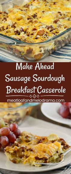 Make Ahead Sausage Sourdough Breakfast Casserole - An easy overnight breakfast bake with sausage, cheese and eggs that's perfect for holiday breakfast or brunch. Make it for Thanksgiving, Christmas, Easter, potlucks or whenever you need to feed a crowd! Breakfast Potluck, Breakfast Casserole With Bread, Make Ahead Brunch, Overnight Breakfast Casserole, Breakfast Bake, Morning Breakfast, Overnight Egg Bake, Breakfast Dishes, Brunch Recipes