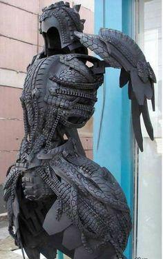 Tire sculpture.