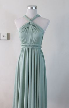 Full Length Convertible Dress in Sage Pale Green Pastel Infinity Dress Multiway Dressl Powder Mint on Etsy, £26.89