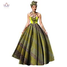 Image of Womens African Dress Dashikis Print Ball Gown Party Dress, Maxi and Strapless Women gown with Free Headwear Plus - without Necklace African Print Dresses, African Print Fashion, African Dress, African Attire, African Outfits, Dashiki Dress, Printed Gowns, Gown Pattern, Fashion Corner