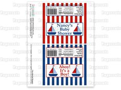 Printable DIY Blue and Red Sailboat Nautical Theme Personalized Boy Baby Shower Chocolate Bar Wrapper. $5.00, via Etsy.