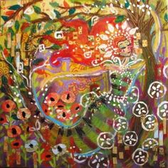 """Garden Goddess by Talyaa Liera. """" I paint the essence of the Divine Feminine — the beauty, the love, the truth of women all over the world. My art sparks an awakening of the Divine Feminine in women AND men. Through this awakening we will heal ourselves and one another...and ultimately, the world""""."""