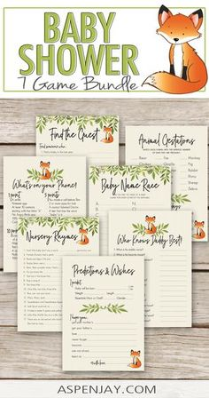 7 Fox Baby Shower Games Pack – AspenJay Baby Shower Printables, Party Printables, Baby Shower Games, Baby Boy Shower, Old Nursery Rhymes, Fun Test, Wishes For Baby, Woodland Baby, Host A Party