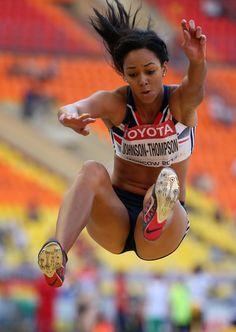 David Oliver Photos Photos: IAAF World Athletics Championships Moscow: Day 4 Katarina Johnson Thompson, Foto Sport, Heptathlon, World Athletics, Beautiful Athletes, Long Jump, Olympic Athletes, Sports Images, Love Fitness