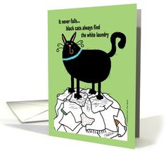 Black Cat, White Laundry card (93523) by Christie Black Creations