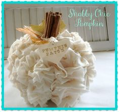 DIY shabby fabric pumpkin with ruffles galore. A totally adorable pumpkin craft made with a Dollar Tree pumpkin and some inexpensive muslin. Shabby Chic Pumpkins, Shabby Chic Fall, Shabby Chic Decor, Shabby Chic Halloween Decor, Shabby Chic Crafts, Autumn Crafts, Thanksgiving Crafts, Holiday Crafts, Holiday Fun