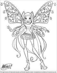 Winx Club Coloring Pages In The Library