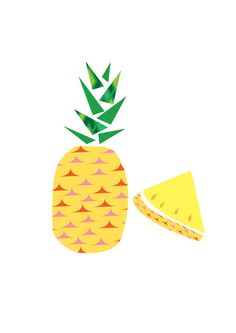 Retro Pineapple. Digital illustration. Fruit. by HelloPants, $28.00