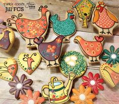 Watering can & chickens~ by Jill FCS, Orange, Yellow, green Farm Cookies, Crazy Cookies, Cute Cookies, Cupcake Cookies, Cupcakes, Sugar Cookie Royal Icing, Cookie Frosting, Christmas Sugar Cookies, Easter Cookies