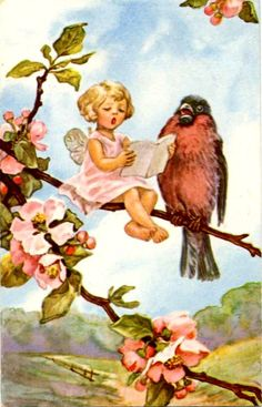vintage postcard lets all sing like the birdies sing... tweet tweet tweeet tweet tweet,,