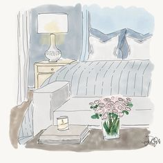 Sweet dreams lovelies! #lisagilmoredesign #liveableglamour #interiordesign #luxury #interiordecor #homedecor #design #interiordecor #pattern #realestate #residential  #bedroom #comfy #sweetdreams #art #rendering #sketch