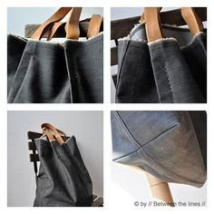 denim and leather tote - project link - handmade charlotte