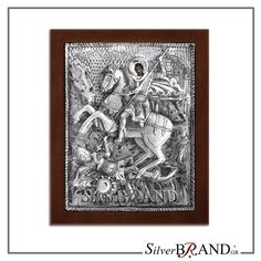 Exact copy of byzantine silver icon depicting Saint Dimitrios. Christ Pantocrator, Byzantine Icons, Saint George, Russian Art, Virgin Mary, Handmade Silver, Saints, Greek, Canvas