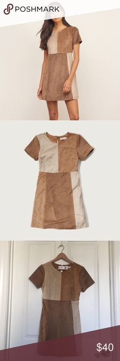 NWT faux suede patchwork dress NWT. Super soft faux suede with patchwork detailing, short sleeves, keyhole back detail, a-line silhouette. Zips up the side. Abercrombie & Fitch Dresses
