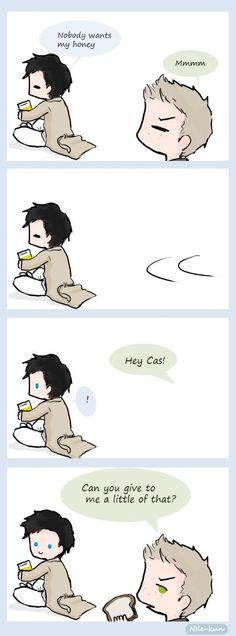 Cas: Nadie quiere mi miel. Dean: Mmmmm. / Dean: Hey Cas! / Dean: Me puede dar a mí un poco de eso? /// Destiel *0*