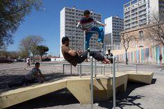 #Gecko1 à Saint-Mauront-Marseille Collectif Cabanon Vertical Béton jaune-Concrete Aménagement urbain participatif et transitoire espace sportif