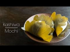 Soft chewy kashiwa mochi with red bean paste filling wrapped with an oak leaf, enjoyed on Children's day in Japan.