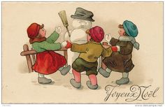 """ENFANTS - LITTLE GIRL - MAEDCHEN -  Jolie Carte Fantaisie Enfants Dansant Autour D'un Bonhomme De Neige De """"Joyeux Noël"""" - Noël"""