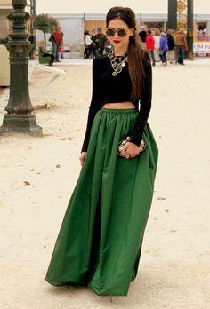 Зеленая юбка в пол