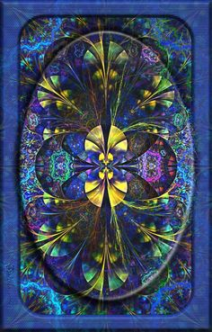 A painting of dark blues and purples with yellow, turquoise and green accents.