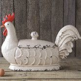 Found it at Wayfair - Stoneware Rooster Container