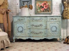 Vintage Painted Cottage Shabby Aqua Chic Dresser Server