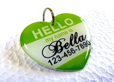 Dog Tags Hello My Name Is Heart Shape by ID4Pet by ID4Pet on Etsy, $14.50