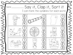 SAY IT, CLAP IT, SORT IT - Syllable sort Columbus FREEBIE