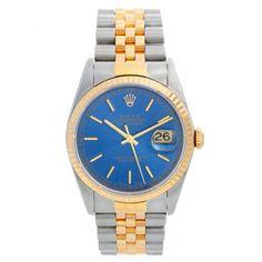 Men's Rolex Datejust Watch 16233 Blue Stick Dial Men's Rolex, Rolex Datejust, Rolex Watches For Men, Gold Watch, Omega Watch, Blue, Accessories, Mens Watches Rolex, Jewelry Accessories
