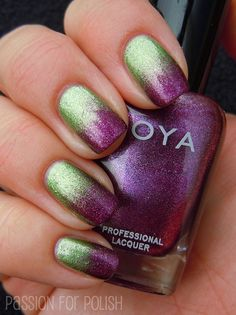 Stunning gradient nail polish manicure featuring Zoya Carly and Zoya Meg.