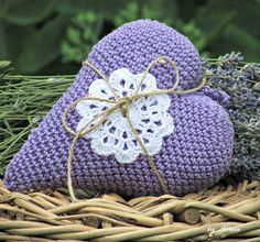 Crochet heart filled with lavander