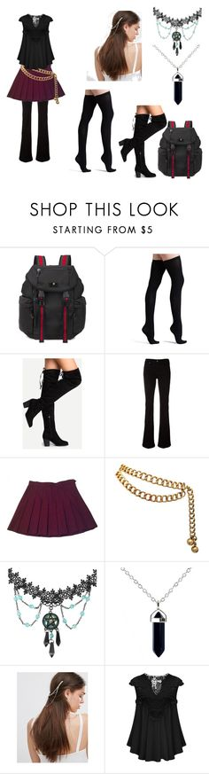 """""""emerald"""" by alivia-hickman on Polyvore featuring Gucci, Commando, 7 For All Mankind, American Apparel, Chanel and Kat&Bee"""
