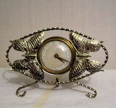 Vintage Butterfly wind up clock