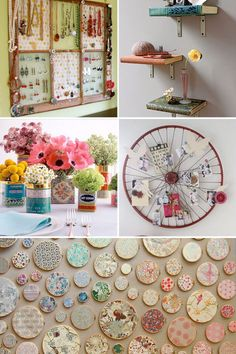 decorating ideas:   -old books turned into shelving  -embroidery hoops to display vintage fabric scraps