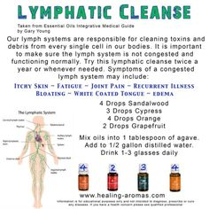 Lymphatic Cleanse with essential oils. For more info or to order please go to www.EssentialOilsEnhanceHealth.com by trudy