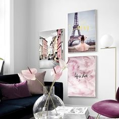 Analytical Pink Rose Cloud Chairs Feather Wall Art Canvas Painting Landscape Nordic Posters And Prints Wall Pictures For Living Room Decor Home Decor