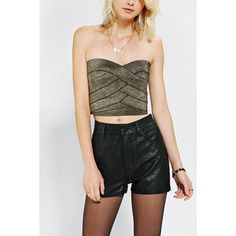 Sparkle & Fade Metallic Bodycon Cropped Top