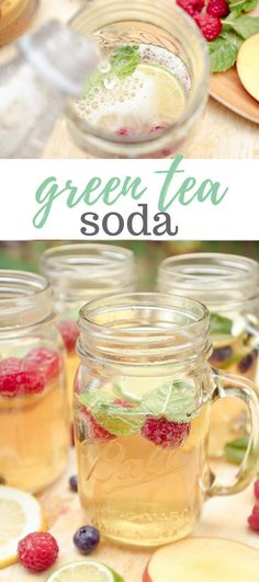 A refreshing drink for a hot summer day:Green Tea Soda! Brew your favorite green tea and add fruit!