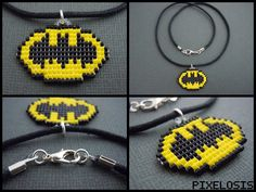 Handmade Seed Bead Batman Symbol Necklace by Pixelosis on DeviantArt - Jule Pony Bead Patterns, Peyote Patterns, Loom Patterns, Beading Patterns, Seed Bead Jewelry, Beaded Jewelry, Silver Jewelry, Glass Jewelry, Jewlery