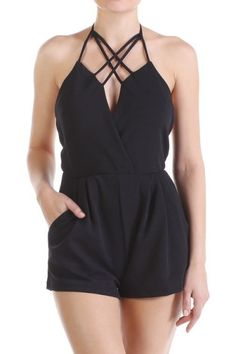 *** Sexy Straps Detail Romper *** Sexy Straps Detail Romper , solid colored romper with frontal pockets. Cross strap detail trim.