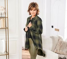 Transition piece, transition piece, transition piece: we've got a bit of tunnel vision with this sweeping, hi-low hem top. Lisa Rinna, Point Collar, Plaid Pattern, Buttons, Long Sleeve, Sleeves, How To Wear, Collection, Tops