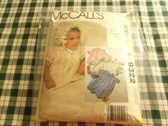 1984 McCall's 9322 Pattern Infant Gown or Dress Slip