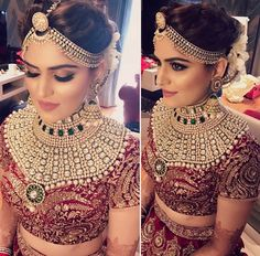 Such beautiful bridal makeup--perfect mix. Not too natural and subtle but not too dramatic Beautiful Bridal Makeup, Natural Wedding Makeup, Indian Bridal Makeup, Indian Wedding Jewelry, Indian Wedding Outfits, Bridal Outfits, Indian Outfits, Bridal Dresses, Indian Bride Hair