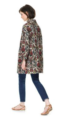 Image 2 of MULTICOLORED JACQUARD PATTERN COAT from Zara
