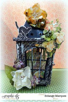 Solange's An Eerie Tale lantern with Petaloo flowers #graphic45 #petaloo