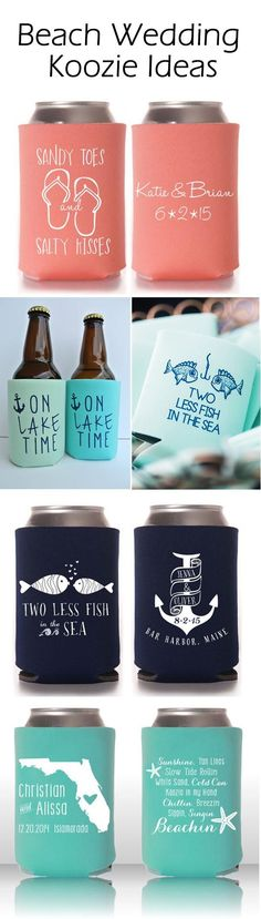 summer beach wedding koozie favor ideas