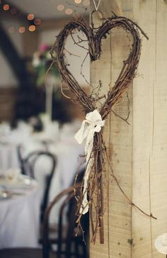 My heart is for you. Another simple decor idea for chairs or just around the room. Wandhaken Shine On Your Wedding Day With These Breath-Taking Rustic Wedding Ideas! – Page 2 of 2 – Cute DIY Projects wedding decor diy Wedding Wreaths, Wedding Flowers, Wedding Decorations, Heart Decorations, Romantic Decorations, Valentine Decorations, Decor Wedding, Wedding Venues, On Your Wedding Day