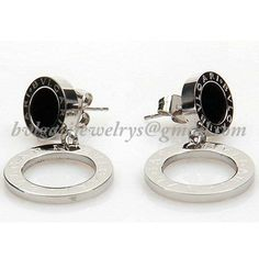 BVLGARI Bulgari earrings stainless steel black onyx